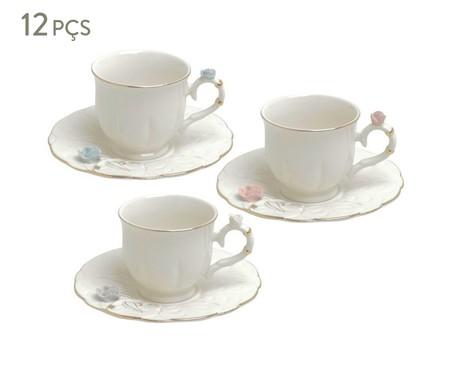 Jogo de Xícara para Café com Pires em Porcelana Flower Round - Branco   WestwingNow