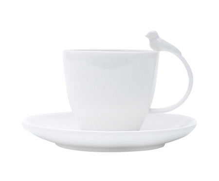 Jogo de Xícara para Chá com Pires em Porcelana Birds - Branco | WestwingNow