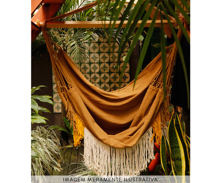 Poltrona Suspensa Franjas Assimétricas - Caramelo | WestwingNow