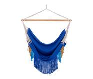 Poltrona Suspensa com Franjas Assimétricas - Azul Royal | WestwingNow