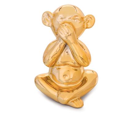 Jogo de Adornos em Cerâmica Monkey - Dourado | WestwingNow