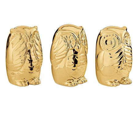 Jogo de Adornos em Cerâmica Corujas - Dourado   WestwingNow