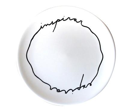 Prato Raso em Porcelana Inspira Expira - Branco | WestwingNow