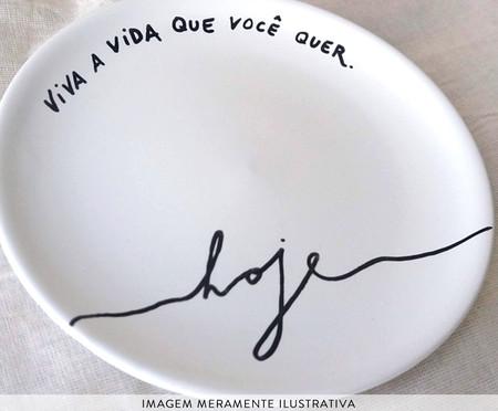 Prato Raso em Porcelana Viva a Vida Hoje - Branco | WestwingNow