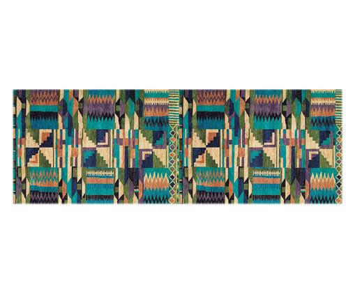 Passadeira PVC Blue Tribal, Preto, Amarelo, Verde, Colorido | WestwingNow