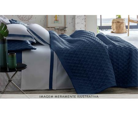 Jogo de Lençol Cetim Naturalle Fashion St. Germain 300 fios - Branco e Azul | WestwingNow