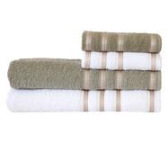 Jogo de Toalhas Bem Estar Branco e Verde Musgo - 360 g/m² | WestwingNow