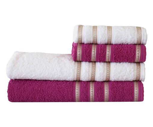 Jogo de Toalhas Bem Estar Branco e Rosa - 360 g/m², Rosa | WestwingNow