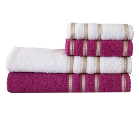Jogo de Toalhas Bem Estar Branco e Rosa - 360 g/m² | WestwingNow