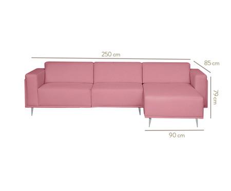 Sofá com Chaise Esquerda Antonio - Rosa Vintage | WestwingNow
