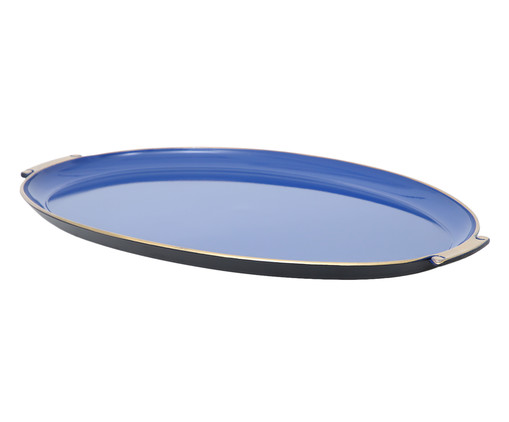 Bandeja Rennes Azul e Dourado - 59X38cm, Azul, Dourado | WestwingNow