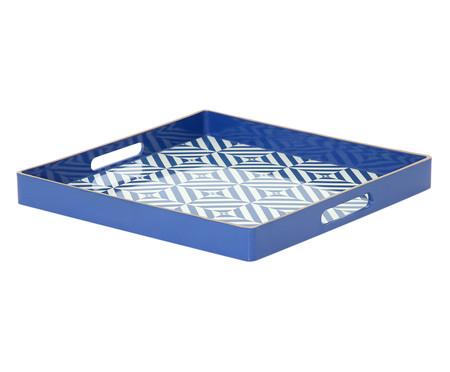 Bandeja Estampada Lisses Azul e Branco - 35X35cm | WestwingNow