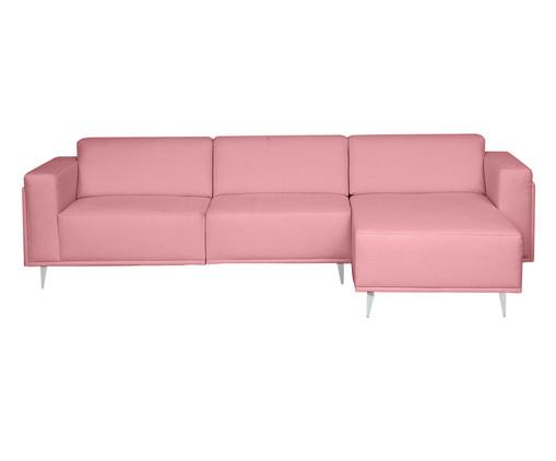 Sofá com Chaise Esquerda Antonio - Rosa Flamingo, Rosa | WestwingNow