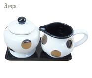 Jogo para Servir Café em Cerâmica Mary - Preto e Branco | WestwingNow
