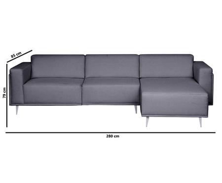 Sofá com Chaise Esquerda Antonio - Cinza Cimento | WestwingNow
