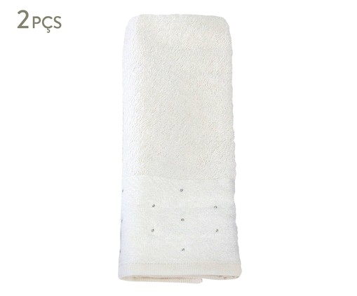 Jogo de Toalhas de Lavabo em Algodão 440g/m² - Branco, Branco | WestwingNow