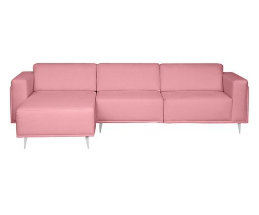 Sofá com Chaise Direita Antonio - Rosa Flamingo, Rosa | WestwingNow
