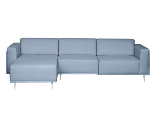 Sofá com Chaise Direita Antonio - Azul, Azul | WestwingNow