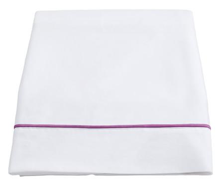 Lençol Superior com Vivo Basics Branco e Violeta - 200 Fios | WestwingNow