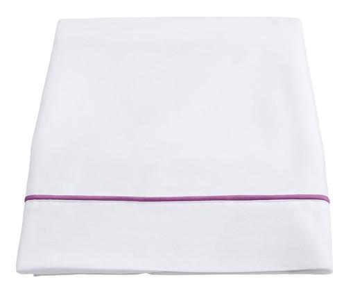 Lençol Superior com Vivo Basics Branco e Violeta - 200 Fios, Branco e Violeta   WestwingNow