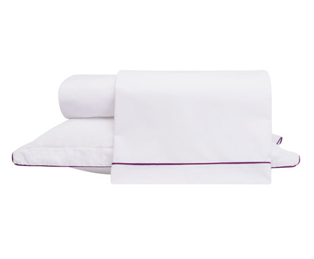 Jogo de Lençol com Vivo Basics Branco e Violeta - 200 Fios | WestwingNow