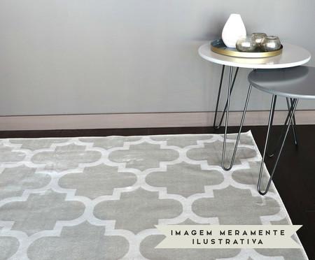Tapete Redondo Belga Geometric Adeleide - Cinza e Branco | WestwingNow