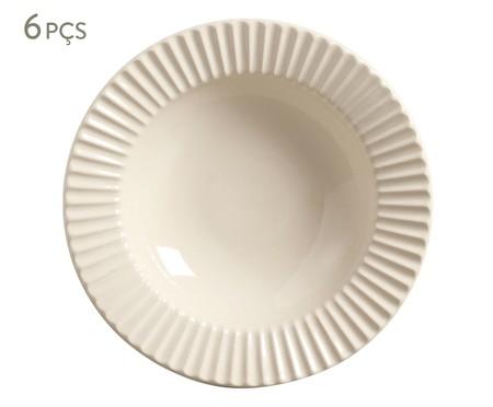 Jogo de Prato Fundo em Cerâmica Plissé - Cru | WestwingNow