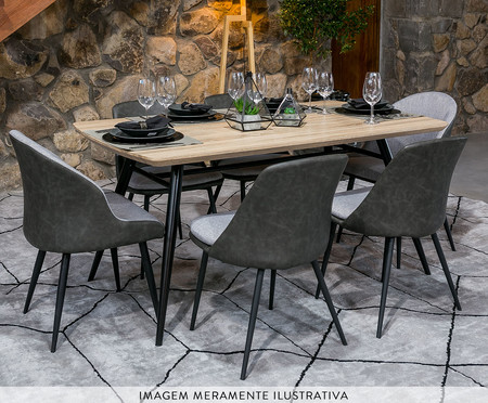 Mesa de Jantar Retangular Lichia - Preto | WestwingNow