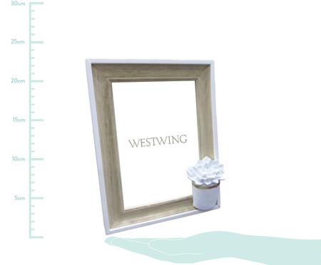 Porta-Retrato de Madeira Cactus Flower - Branco e Bege | WestwingNow