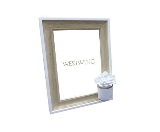 Porta-Retrato de Madeira Cactus Flower - Branco e Bege, Branco, Bege | WestwingNow