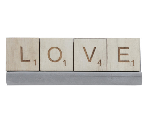 Adorno Letras Love - Cinza, Marrom | WestwingNow