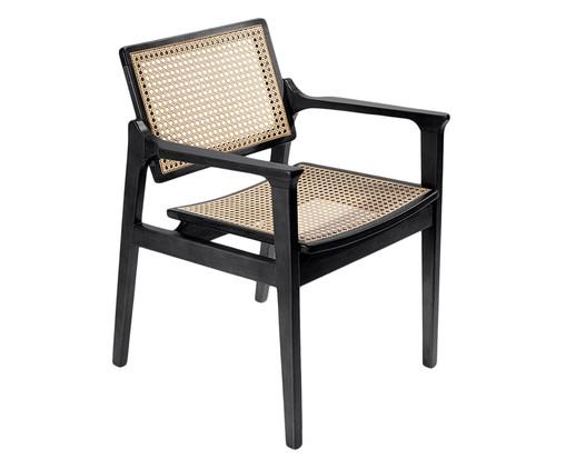 Cadeira com Braços em Madeira e Palha Favo Kansas - Preta, Preto, Natural | WestwingNow