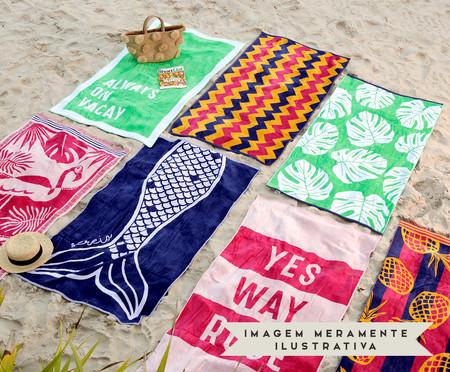 Toalha de Praia Férias Verde e Branco - 420 g/m² | WestwingNow
