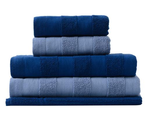 Jogo de Toalhas Listras Cerúleo-Marinho - 460 g/m², Azul Marinho | WestwingNow
