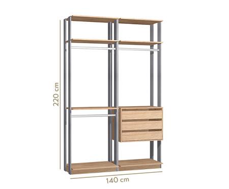 Guarda-Roupa Closet Gali - Carvalho e Espresso | WestwingNow