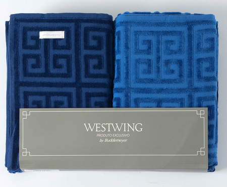 Jogo de Toalhas Chave Grega - Azul | WestwingNow