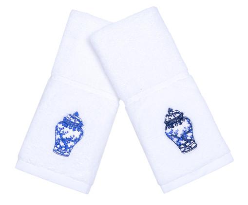 Jogo de Toalhas para Lavabo Vaso Chines, Branco e Azul | WestwingNow