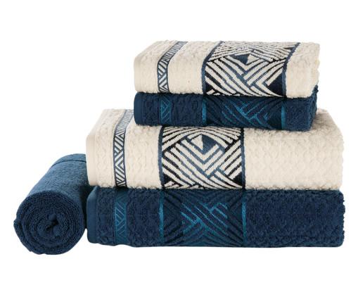 Jogo de Toalhas de Banho Algodão Norman Ivory 450 g/m² - Bege e Azul, Azul e Bege | WestwingNow