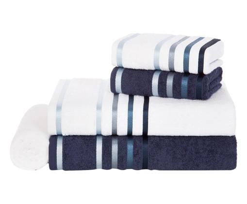 Jogo de Toalhas Lumina Branco e Azul 100% Algodão, Azul Marinho | WestwingNow