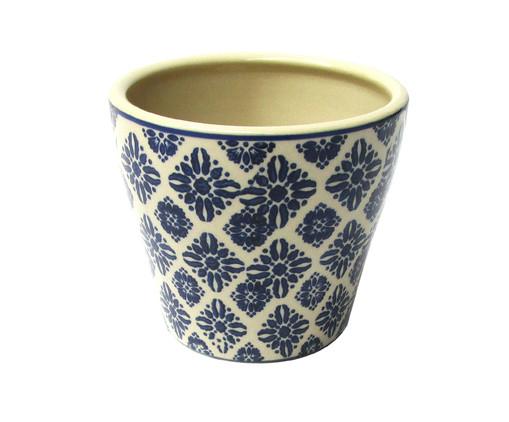 Cachepot de Cerâmica Dimas - Bege e Azul, Bege, Azul | WestwingNow