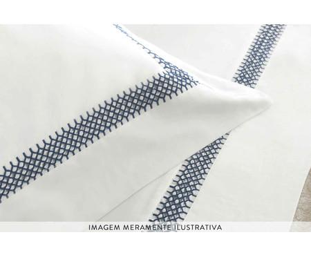Jogo de Lençol em Cetim Donati 300 Fios - Branco e Azul | WestwingNow