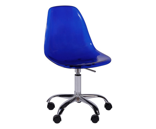 Cadeira com Rodízios Eames - Azul Transparente, Branco, Colorido   WestwingNow