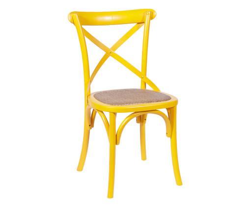 Cadeira de Madeira Cross - Amarela, Amarelo, Colorido | WestwingNow