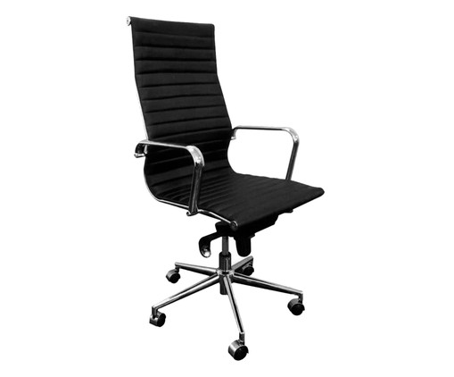 Cadeira de Escritório com Rodízios Glove Alta - Preta, Preto, Prata / Metálico, Colorido | WestwingNow