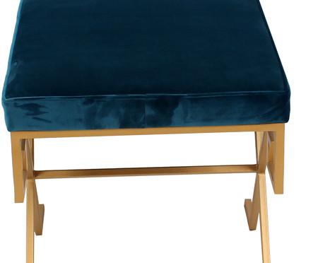 Pufe em Veludo Chave Grega - Azul Pavão | WestwingNow