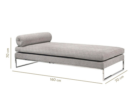Chaiselongue de Suede Ch Margot - Cinza | WestwingNow