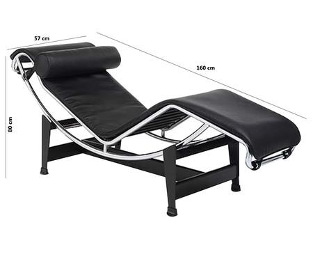 Chaise Longue em Couro Ecológico Le Corbusier - Preta | WestwingNow
