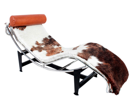 Chaise Longue em Couro Le Corbusier - Animal Print, Branco, Colorido | WestwingNow