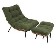 Poltrona Costela com Pufe em Sarja - Verde Musgo e Preta | WestwingNow