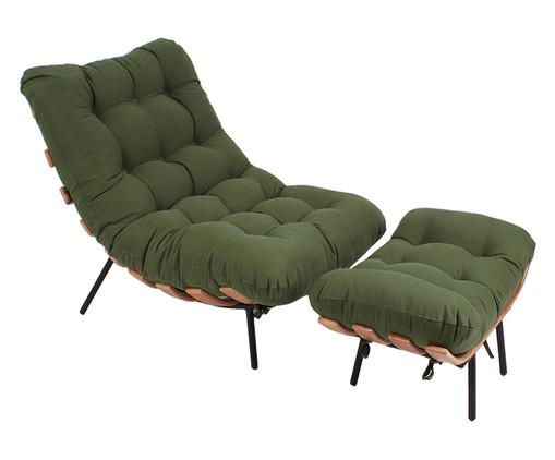 Poltrona Costela com Pufe em Sarja - Verde Musgo e Preta, Verde, Colorido | WestwingNow